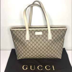 Authentic Gucci brown monogram coated canvas tote
